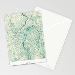 Lyon Map Blue Vintage Stationery Cards