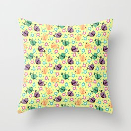 Freely Birds Flying - Fly Away Version 3 - Blonde Yellow Color Throw Pillow