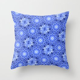 Blue and White Pattern Throw Pillow