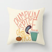 spice Throw Pillows featuring Pumpkin Spice by Chelsea Herrick