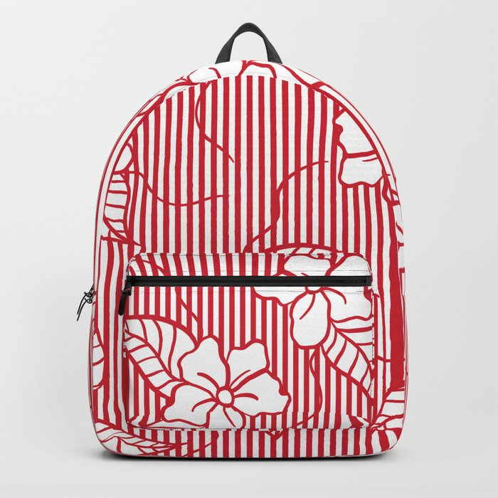 Fashion red flame scarlet white floral hand drawn geometric stripes pattern Backpack