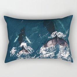 Ocean Family Whales Rectangular Pillow
