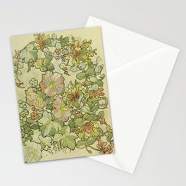 """Alphonse Mucha """"Printed textile design with hollyhocks in foreground"""" Stationery Cards"""