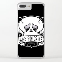 Have Fun or Die - Skateboard Skull Clear iPhone Case