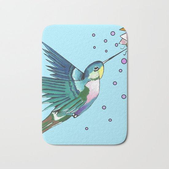 Hummingbird Blue Bath Mat