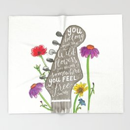 You belong among the wildflowers. Tom Petty quote. Watercolor guitar illustration. Hand lettering. Throw Blanket