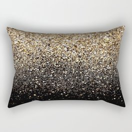 Black & Gold Sparkle Rectangular Pillow