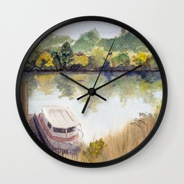 Autumn on the Delta: Houseboat on the Sacramento River, Walnut Creek, California Wall Clock