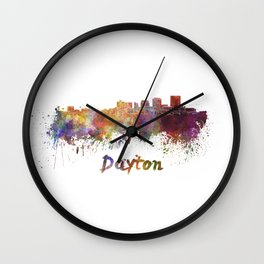 Dayton skyline in watercolor Wall Clock