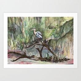 Mr. Blue Heron The Swamp Gatekeeper Art Print
