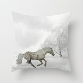 White Horse Galloping on Snowy Field Throw Pillow