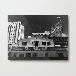 El Cortez Hotel, Las Vegas in Black and White Metal Print