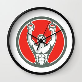 Kipping Muscle Up Cross-fit Circle Retro Wall Clock