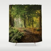 woodland Shower Curtains featuring Woodland by ZenaZero
