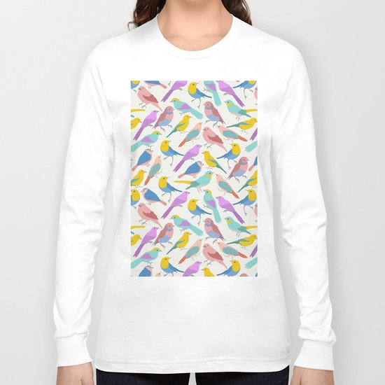 Dazzling Colored Bird Pattern Long Sleeve T-shirt