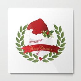 Christmas Baseball Metal Print