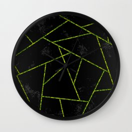 Abstract shapes with green lines and black gradient background Wall Clock