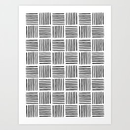 Sideways Stripes - Black Mudcloth Pattern Art Print
