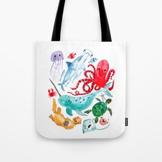 Ocean Creatures - Sea Animals Characters - Watercolor Tote Bag