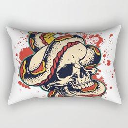 Skull and Snake Flash Art Rectangular Pillow