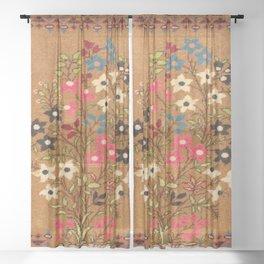 Kashan Vintage Central Persian Mat Print Sheer Curtain