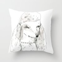 poodle Throw Pillows featuring Poodle by Elizabeth Graeber