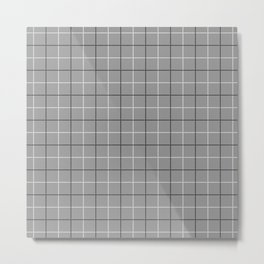 Tattersall Windowpane Check Plaid (gray/black/white) Metal Print