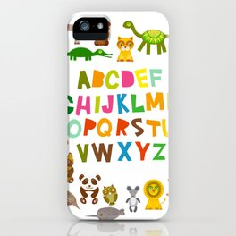 back to school. alphabet for kids from A to Z. funny cartoon animals iPhone Case