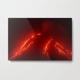 Night eruption volcano Klyuchevskaya Sopka in Kamchatka Peninsula Metal Print
