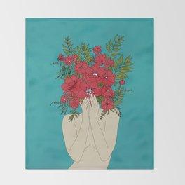 Blooming Red Throw Blanket