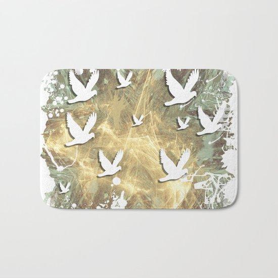 Birds on beige messy kaleidoscope Bath Mat