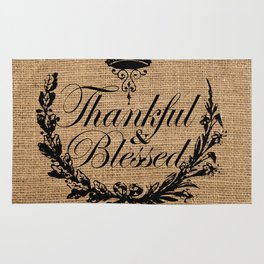 french country jubilee crown thanksgiving fall wreath beige burlap thankful and blessed Rug