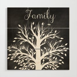 Family Tree Black and White Wood Wall Art