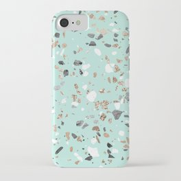 Glitter and Grit Marble Mint Green iPhone Case