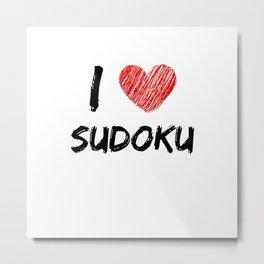 I Love Sudoku Metal Print