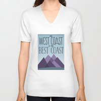 west coast V-neck T-shirts featuring West Coast by Kyramari