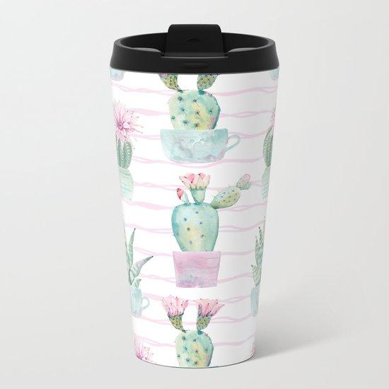 Simply Echeveria Cactus on Desert Rose Pink Wavy Lines Metal Travel Mug