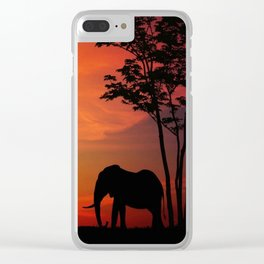 Elephants in the African sunset Clear iPhone Case