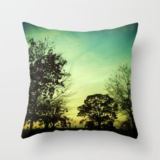 Orange Green Blue Sky Throw Pillow