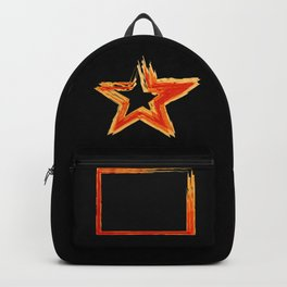 Fire star in red and blue color on a black background. Backpack