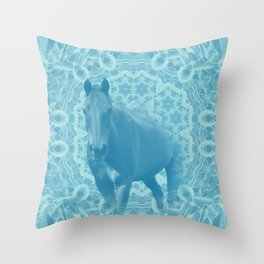horse and wattle mandala in blue Throw Pillow