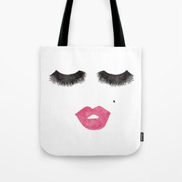 Glam Lips and Lashes Watercolor Tote Bag