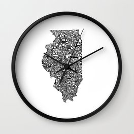 Typographic Illinois Wall Clock