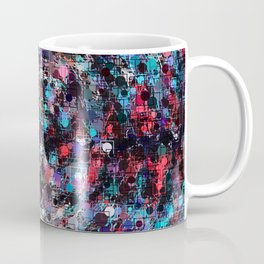 geometric circle and square pattern abstract in blue and red Coffee Mug