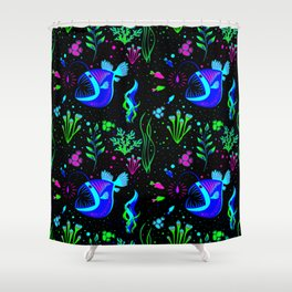 Angler Fish and small fishs Shower Curtain