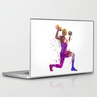 fitness Laptop & iPad Skins featuring Man exercising weight training workout fitness by Paulrommer