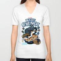 kaiju V-neck T-shirts featuring Kaiju Crunch by Matt Dearden