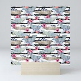 floral whales Mini Art Print