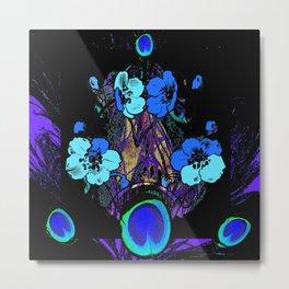 Purple Blue Floral Geometric Black Patterns Metal Print