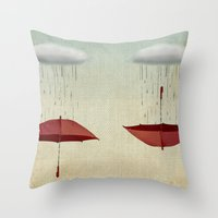 rain Throw Pillows featuring embracing the rain by Vin Zzep